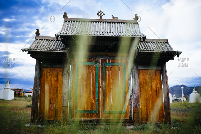 A wooden gate at a small temple complex in Murun, Mongolia