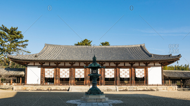 Great lecture hall of Horyuji temple, Japan.