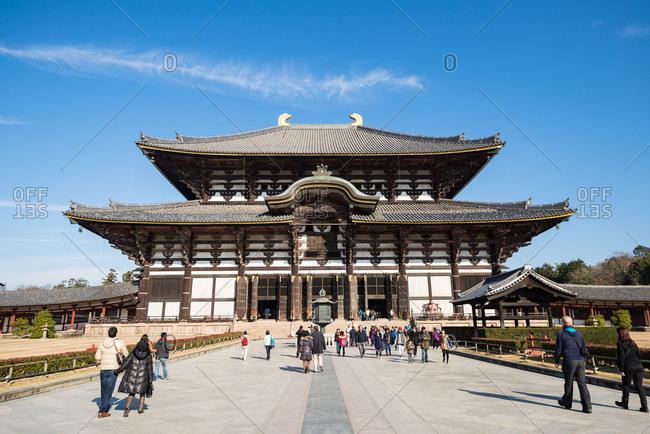 Nara, JAPAN - December 18, 2016: Daibutsuden great buddha hall at Todaiji temple.