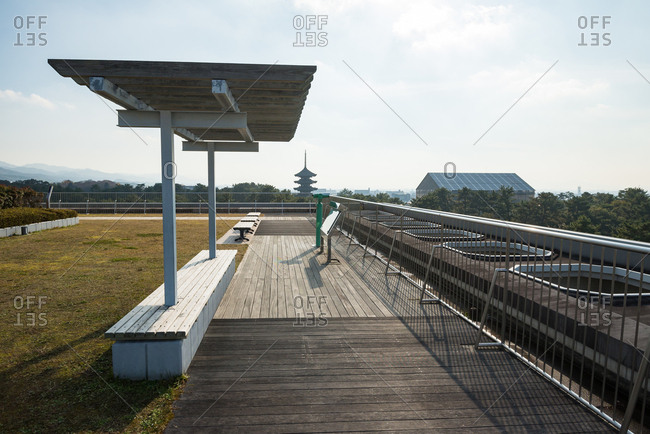 Nara prefectural office rooftop observatory.