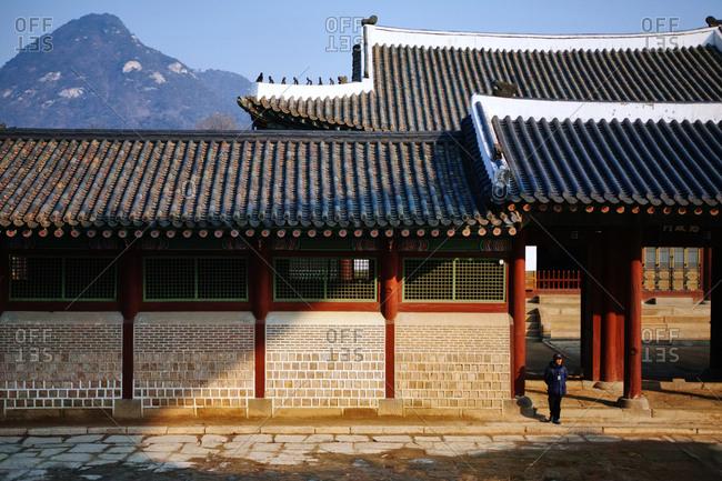 Seoul, South Korea - February 3, 2017: Gyeongbokgung Sajeongmun