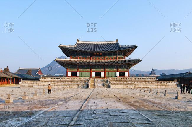 Seoul, South Korea - February 9, 2017: Geunjeongjeon, the main throne hall of Gyeongbokgung Palace in Seoul, South Korea