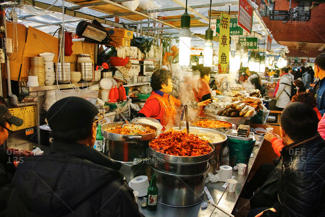 Seoul, South Korea - February 24, 2017: Gwangjang Market, previously Dongdaemun Market, is a traditional street market in Jongno-gu, Seoul, South Korea. The market is one of the oldest and largest traditional markets in South Korea.