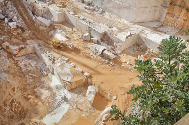 Alentejo, Portugal - October 21, 2014: A marble quarry in