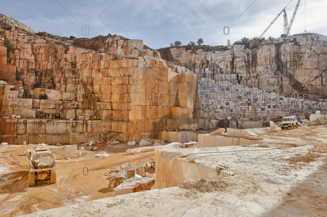 Alentejo, Portugal - October 21, 2014: Truck in a marble quarry
