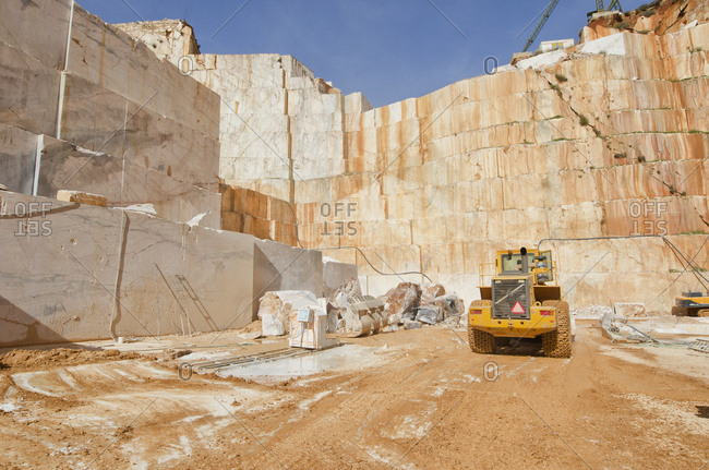 Alentejo, Portugal - October 21, 2014: Vehicle in a marble quarry