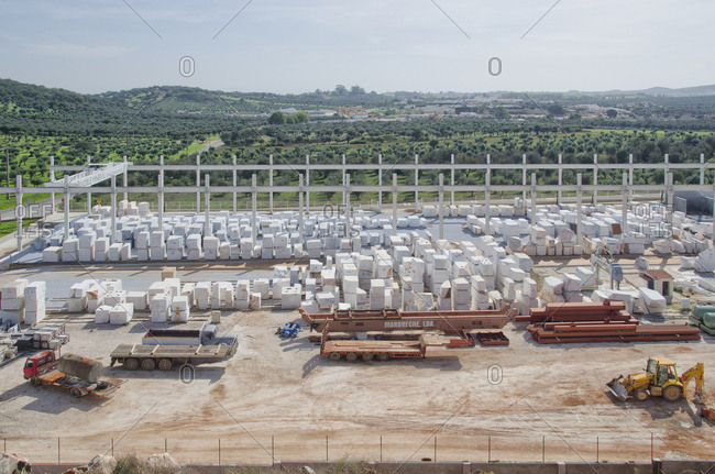 Alentejo, Portugal - October 21, 2014: A marble stone site