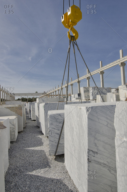 Alentejo, Portugal - October 21, 2014: Lift stacking marble blocks