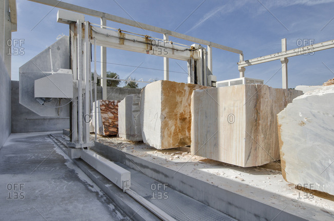 Machine and marble blocks from quarry