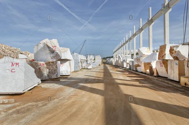 Alentejo, Portugal - October 21, 2014: Excavated marble stone blocks