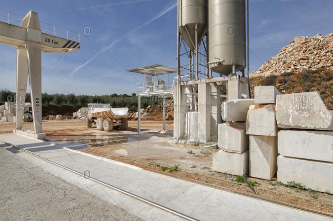 Alentejo, Portugal - October 21, 2014: A marble excavation site