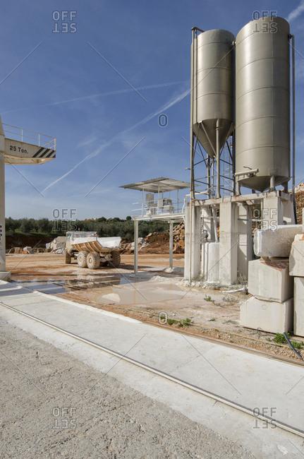 Alentejo, Portugal - October 21, 2014: A marble stone excavation site