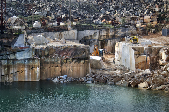 Alentejo, Portugal - October 21, 2014: Marble quarry along coast