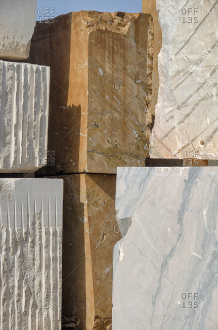 Cut marble stone from quarry