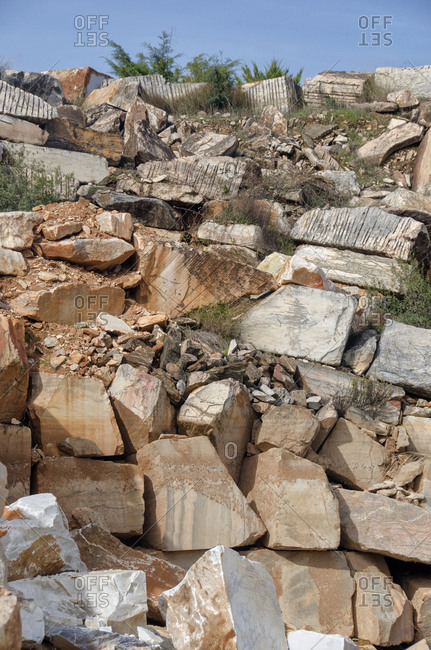 Rock piles in marble quarry