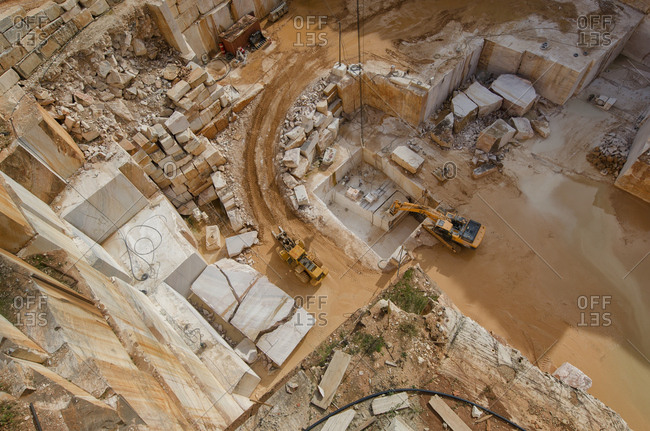 Alentejo, Portugal - October 21, 2014: Overhead view of marble quarry