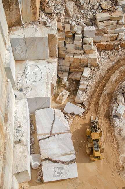 Alentejo, Portugal - October 21, 2014: An aerial view of a marble quarry