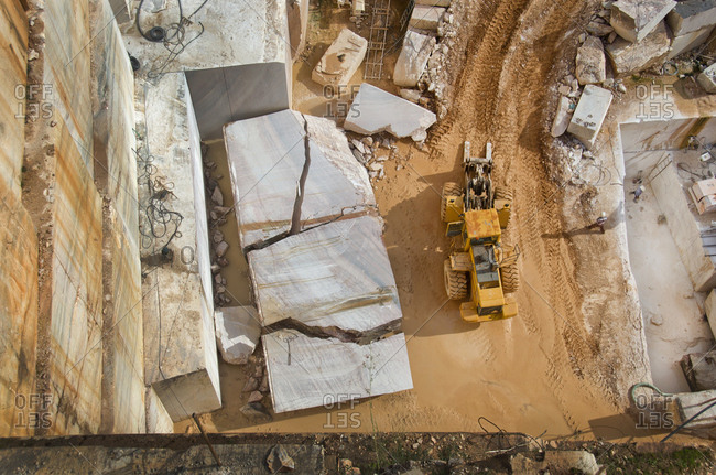 Alentejo, Portugal - October 21, 2014: Aerial view of a marble quarry
