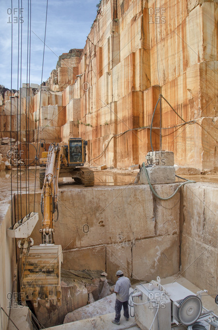 Alentejo, Portugal - October 21, 2014: Marble being extracted from quarry