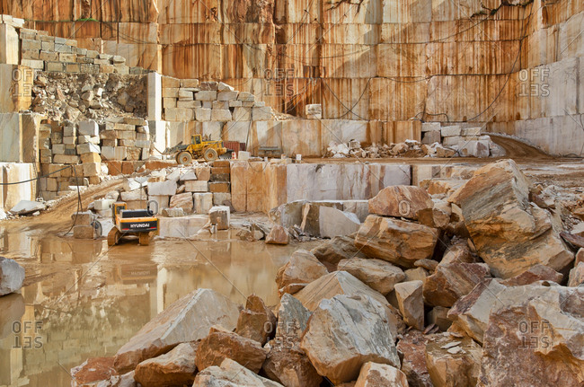 Alentejo, Portugal - October 21, 2014: View of a marble quarry