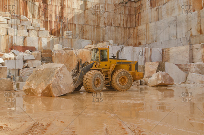 Alentejo, Portugal - October 21, 2014: A vehicle in a marble quarry