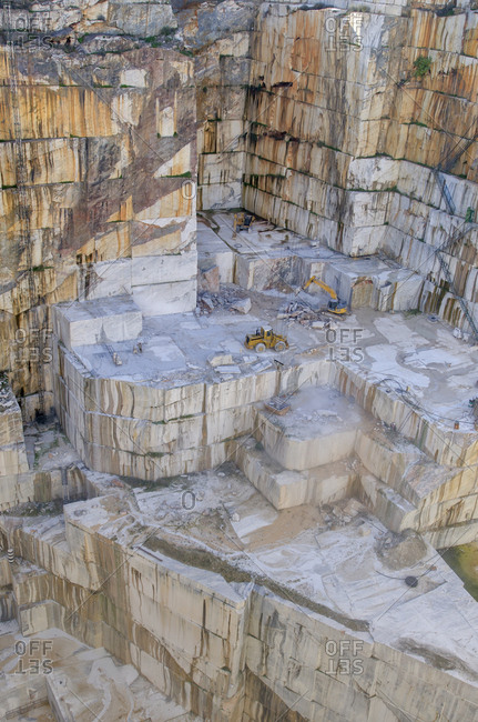 Alentejo, Portugal - October 21, 2014: View into a deep marble quarry