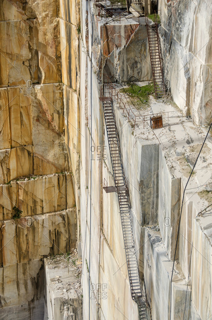 Ladders into a marble quarry