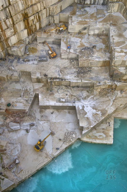 Alentejo, Portugal - October 21, 2014: Aerial view of deep marble quarry