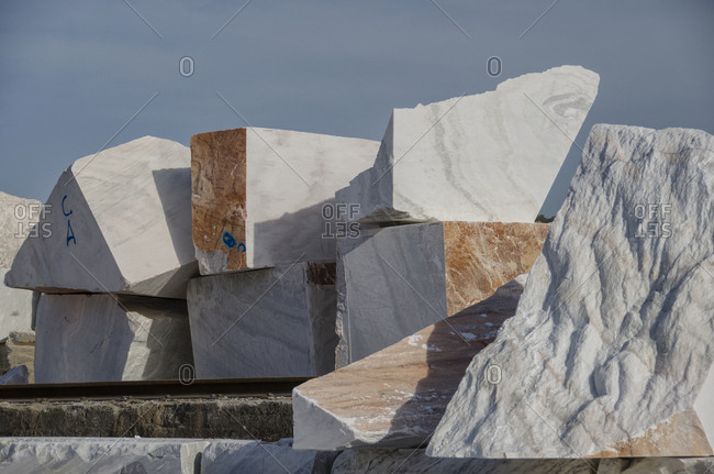 Marked marble blocks from quarry