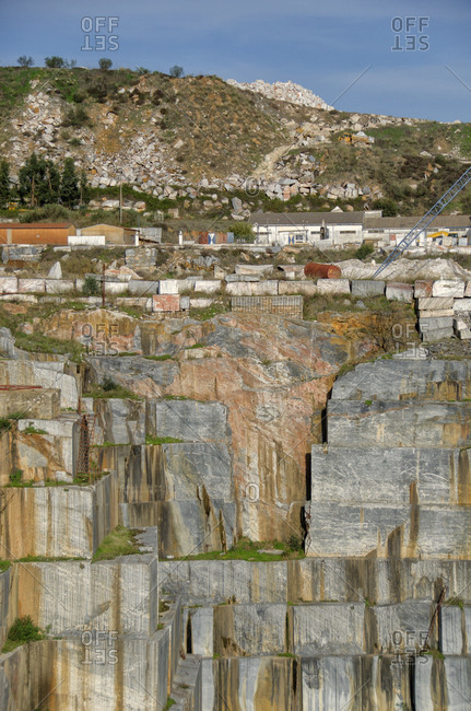 View of side of marble quarry