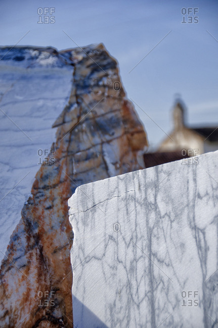 Blocks of marble from a quarry
