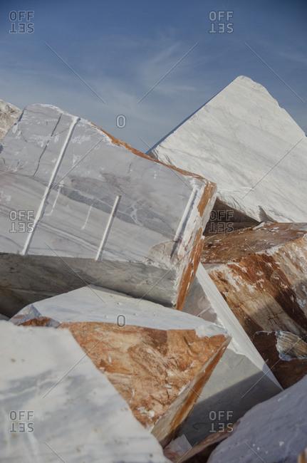 Piles of marble blocks