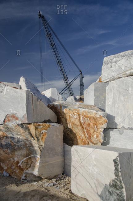 Crane machine in a marble quarry
