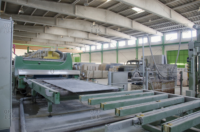 Alentejo, Portugal - October 21, 2014: Machine in marble stone plant