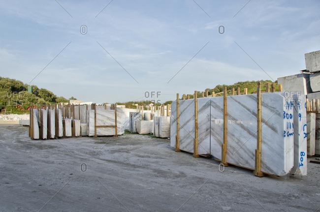 Alentejo, Portugal - October 21, 2014: Marble slabs in outdoor storage