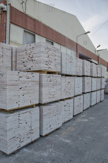 Slabs of marble outside warehouse