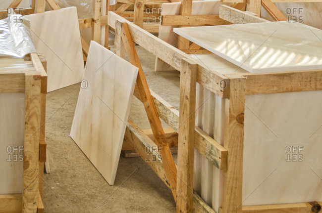 Pieces of marble in warehouse