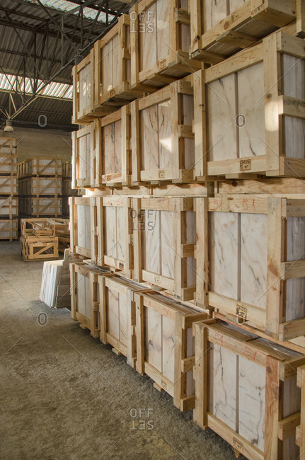 Alentejo, Portugal - October 21, 2014: Stacks of marble in warehouse