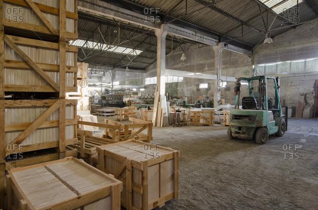 Alentejo, Portugal - October 21, 2014: A marble warehouse interior