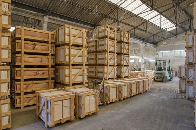 Alentejo, Portugal - October 21, 2014: Interior of a marble warehouse