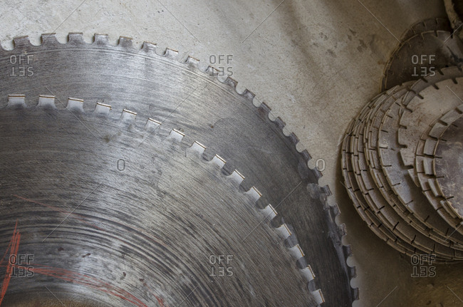 Saw blades in marble plant