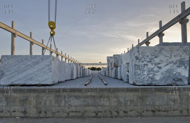 Alentejo, Portugal - October 21, 2014: Slabs of marble in work site