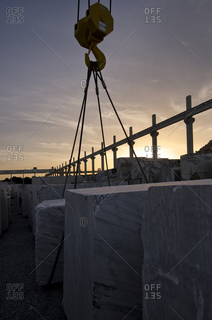Alentejo, Portugal - October 21, 2014: Slabs of marble at sunset