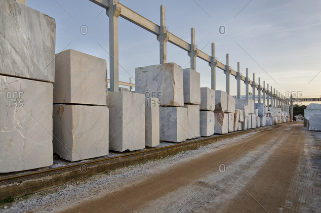 Alentejo, Portugal - October 21, 2014: Blocks of marble at quarry site