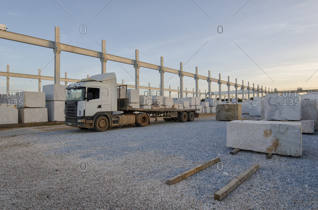 Alentejo, Portugal - October 21, 2014: Truck carrying marble blocks
