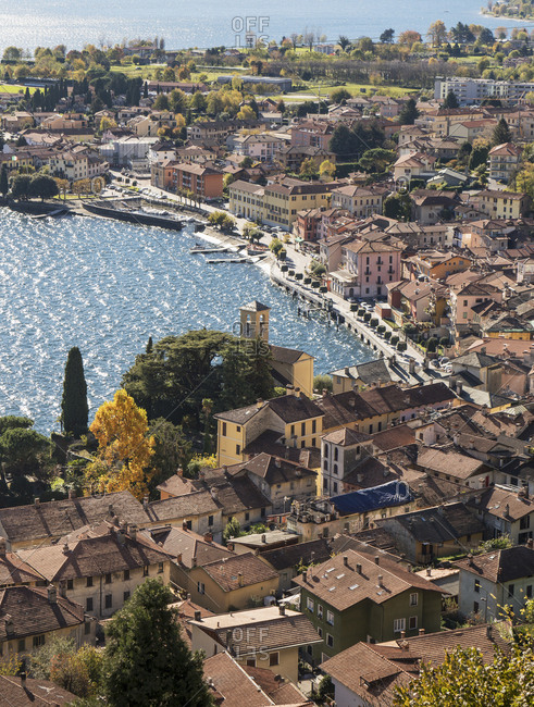 Scenic view of waterfront, Gravedona, Lake Como, Italy
