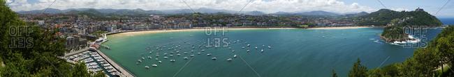 Panoramic view of harbor and bay, San Sebastian, Basque Autonomous Community, Spain