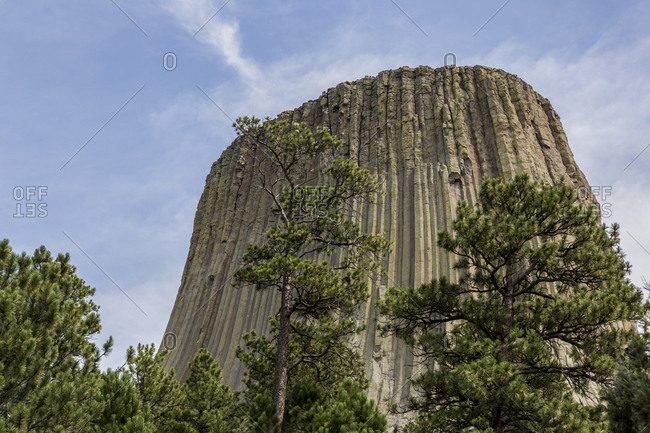 Low angle view of Devils Tower National Monument, Wyoming, United States