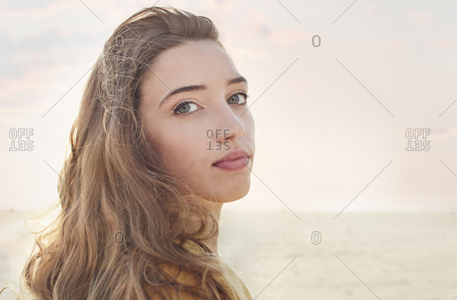 Caucasian woman at beach