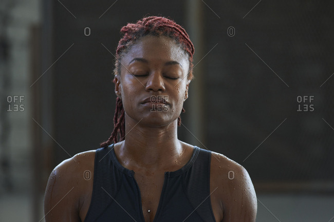 Portrait of Black woman sweating